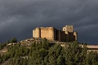 San Asensio, Davalillo castle and wine scape in spring time, La Rioja wine region, Spain, Europe.