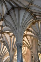 Fan Vaulted Ceiling, Chapter House, Cathedral Church of Saint Andrew, Wells Cathedral, Wells, England.