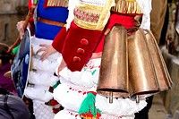 """Cowbells of the Peliqueiros of Laza, mask of the Entroido """"""""carnival"""""""" in Laza, Orense, Spain."""
