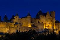 Nightfall in Carcassonne, Aude, France.