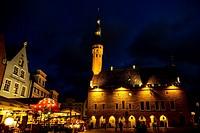 The Town Hall of Tallinn by night, Estonia, Europe.