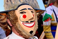 "Cigarron of Verin, mask of the Entroido """"carnival"""" in Verin, Orense, Spain."