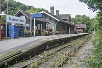 East Midlands Trains Grade II Listed Railway Station on the Derwent Vally Line at Matlock Bath in Derbyshire UK.