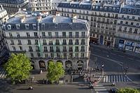 French architecture along Boulevard Haussmann, Paris, Ile-de-France, France.