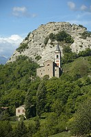 Italy, Emilia Romagna, mountain and church.