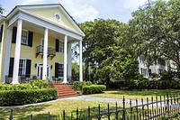 South Carolina, Beaufort, Bay Street, home, mansion, E. A. Scheper House, architecture, exterior, porch, yard, wrought iron fence, columns,