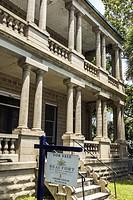 South Carolina, Beaufort, Bay Street, home, mansion, William Joseph Thomas house, Victorian architecture, house, exterior, porch, columns, sale, sign,