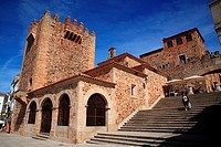 Hermitage of Santa Ana and the tower of Bujaco in the Mayor square. Cáceres.
