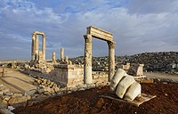 The Temple of Hercules and sculpture of a hand in the Citadel, Amman, Jordan.