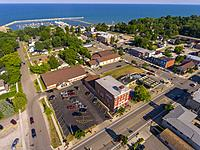 Aerial view of the tourist destination small town of Lexington Michigan.
