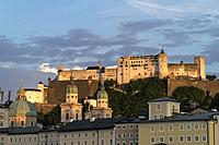 Cathedral and Salzburg fortress during sunset, in Salzburg, Austria.