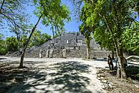 Stelae and structure at Mayan city of Calakmul, Calakmul Biosphere Reserve, Campeche, Mexico.