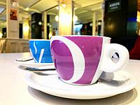 Two cups of coffee in a cafe. Close view.