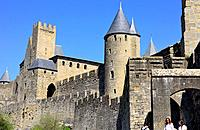 Walls of the city of Carcassone, Languedoc-Roussillon, France.