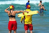 Lifeguards actively watching bathers ahead as the waves hit. Bondi beach. Sydney, Australia.