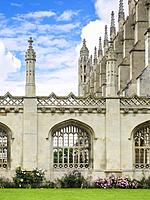 Stone arch windows of King's College Cambridge on King's Parage, Cambridge, England, UK.
