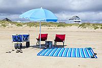 Avon, Outer Banks, North Carolina, USA. Beach Umbrella and Chairs.