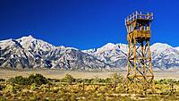 Guard tower at Manzanar National Historic Site, Lone Pine, California USA.