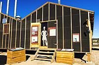 Mess hall and interpretive signs at Manzanar National Historic Site, Lone Pine, California USA.