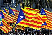 Demonstration on February 03, 2017 in favor of the Independence of Catalonia. Estelades, independentist flags. The Estelada, Estelades, full name Seny...