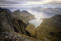Norway, Troms County, north of the Arctic Circle, Senja island between Tromso and the Lofoten islands, trek to the summit of Roalden (862m), view on S...