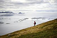 Norway, Troms County, north of the Arctic Circle, Senja island between Tromso and the Lofoten islands, trek to the summit of Husfjellet (635m), view o...