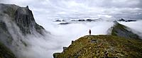Norway, Troms County, north of the Arctic Circle, Senja island between Tromso and the Lofoten islands, trek to the summit of Husfjellet (635m), sea of...