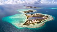 Aerial View, pirate cay and madrisky Waterscape Archipelago los roques venezuela