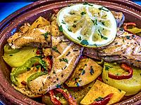 """Morocco, Food, """"""""Tagine me hout"""""""" ( Tagine stew with fish)."""