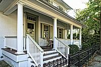 "Lambertville, NJ, USA. Looking at the Front Porch of """"The Parsonage,"""" a restored parsonage, now a Hotel."