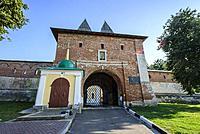 Main entrance of Zaraysk kremlin, Moscow Region (Russia).