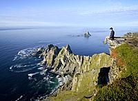 Norway, Nordland County, north of the Arctic Circle, Vesteralen archipelago between the Lofoten islands and Tromso, Andoya island (Andoy), trekker at ...