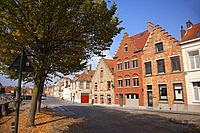 Autumn leaves and traditional houses in the city center, Bruges, West Flanders, Belgium, Europe.