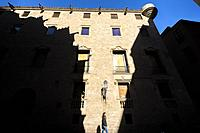 Barcelona, Spain: Exterior of the archive building of the Aragon crown in the Gothic Quarter of Barcelona