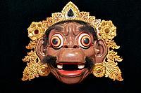 Delem mask made using real human facial hair. Setia Darma House of Masks and Puppets, Mas, Ubud, Bali, Indonesia.