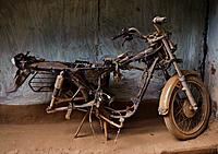 Dilapidated old motorcycle ( Bastar region, India).
