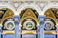 Library of Congress, Washington, DC. , Thomas Jefferson Building. Spring (left), Summer (middle), and Autumn (right), by Frank Weston Benson.