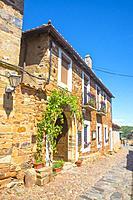 Facade of house. Castrillo de los Polvazares, Leon province, Castilla Leon, Spain.