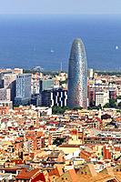 General view of Barcelona from Turó del Carmel with the Agbar tower. Catalonia. Spain.