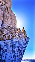 Monument to Diiscoveries Explorers Padrao dos Descobrimentos Tagus River Belem Lisbon Portugal. The monument was conceived by Portuguese Continellis a...