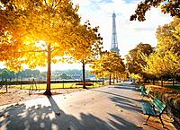 Sunny morning and Eiffel Tower in autumn, Paris, France.