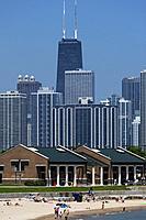 12th Street Beach and city skyline Chicago USA.
