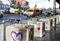 Anti terror bollards outside Flinders Street Station Melbourne Victoria Australia.