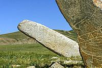 Ancient megalith called deer stone dating back to the late Bronze Age, the stone is decorated with carvings of animals and patterns ressembling jewell...