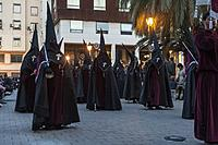 Nazarenos (penitents) in Holy Week procession, Valencia, Spain
