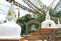 Buddhist chorten at the entrance of Swayambunath or Monkey Temple, Unesco World Heritage Site, Kathmandu, Nepal, Asia.