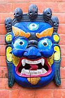 Traditional Hindu Masks on sale in tourist stall, Swayambunath or Monkey Temple, Kathmandu, Nepal, Asia.