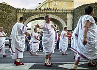 Roman emperors parade during the historical recreation of Arde Lucus, where they commemorate the Roman past of the city of Lugo, and they make a tour ...