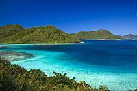 U. S. Virgin Islands, St. John, Leinster Bay, elevated bay view.