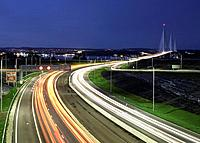 Night view of traffic on approach roads to new Queensferry Crossing Bridge in West Lothian , Scotland, united Kingdom.